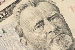 Близкий поднимающий вверх портрет взгляда Ulysses s Grant на одной долларовой банкноте 50 Предпосылка денег стоковые фотографии rf