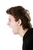 близкий портрет человека вверх крича детеныши Стоковое Изображение