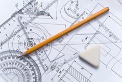 близкое инженерство чертежа вверх Стоковая Фотография RF