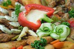близкое мясо тарелки вверх Стоковое Изображение RF