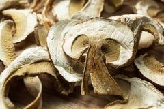 Близко вверх, высушенные грибы, на деревянном столе стоковые фотографии rf