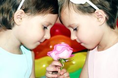 2 близнеца маленьких девочек в дне рождения с цветком подняли на предпосылку яркого покрашенного конца-вверх шариков Стоковая Фотография