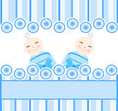 близнецы голубых мальчиков предпосылки striped Стоковое Изображение RF
