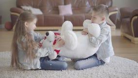 Близнецы мальчик и девушка сидят в живущей комнате на поле и не умеют как делить между ими большого taddy медведя o сток-видео