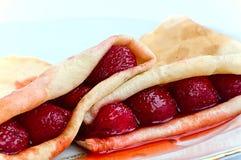 Блинчики с straweberries Стоковая Фотография
