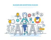 Блоггер, рекламируя в блогах Работа в социальных сетях Содержание средств массовой информации иллюстрация вектора