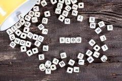 БЛОГ слова на старом деревянном столе стоковая фотография rf