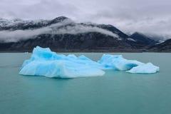 Блоки льда плавая в озеро Argentino El Calafate ареальных стоковые изображения