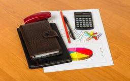 Блокноты, калькулятор, ручка, карандаш, лист бумаги с диаграммами Стоковые Фото