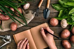 Блокнот для входов в женские руки, конец-вверх Взгляд сверху на деревянной предпосылке с садовыми инструментами, зеленых цветах,  Стоковое фото RF
