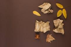 Блокнот и скомканные листы для записи, трудной работы для записи письма Открытый космос для текста Атмосфера и желтый цвет осени стоковое изображение