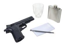 блокнот руки пушки склянки Стоковые Изображения RF