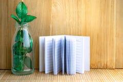 Блокнот с деревом в бутылке на деревянной предпосылке доски используя обои для образования, фото дела Примите примечание продукта Стоковое Изображение