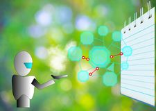 Блокнот с диаграммой на предпосылке дерева расплывчатой используя обои или для образования, фото дела Примите примечание продукта Стоковое Фото