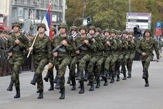 блок в марше флага национальный сербский Стоковые Фото
