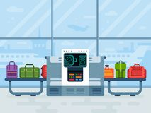 Блок развертки багажа аэропорта Блоки развертки пояса полиции безопасные просматривают багаж пассажиров авиакомпании, вектор конт иллюстрация вектора