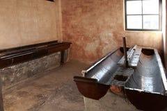 Блок санузла, концентрационный лагерь Освенцим стоковое изображение rf