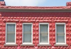 блок строя 4 красных окна Стоковые Изображения