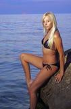 блондинка пляжа Стоковое Изображение RF