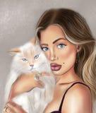 Блондинка с белым пушистым котом иллюстрация вектора