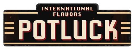 Блюда вкусов искусства логотипа приглашения Potluck международные стоковые изображения rf
