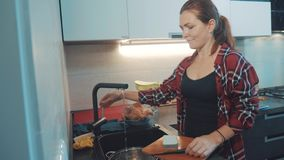 Блюда девушки моя в разделочной доске кухни Кашевары женщины в кухне девушка моет нож дальше в раковине вниз сток-видео