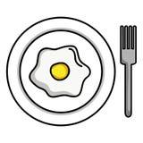 Блюдо и вилка с зажаренным яйцом бесплатная иллюстрация