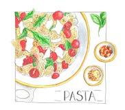 Блюдо макаронных изделий с sauses и лист базилика изолировали иллюстрацию нарисованную рукой Стоковые Фото