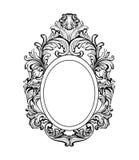 Богатая барочная рамка зеркала Орнаменты вектора французские роскошные богатые затейливые Викторианское королевское оформление ст Стоковое Изображение RF