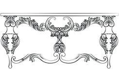 Богатая барочная таблица с роскошными орнаментами Стоковое Фото