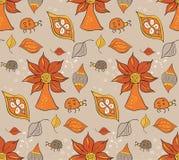Богато украшенная безшовная картина с листьями также вектор иллюстрации притяжки corel Стоковые Изображения