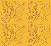 Богато украшенная безшовная картина с листьями также вектор иллюстрации притяжки corel Стоковое Изображение RF