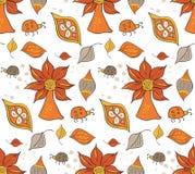Богато украшенная безшовная картина с листьями также вектор иллюстрации притяжки corel Стоковые Изображения RF