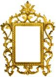 Богато украшенная картинная рамка золота изолированная с путями Стоковая Фотография RF