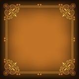 Богато украшенная квадратная золотая рамка на темноте насытила предпосылку Стоковые Фотографии RF