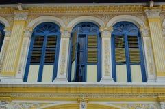 Богато украшенная колониальная улица 4 purvis окон и штарок, Сингапур Стоковые Изображения