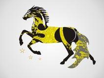 Богато украшенная лошадь вектора в скачке Стоковые Изображения