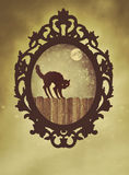 Богато украшенная черная рамка с котом хеллоуина стоковые изображения rf