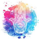 Богато украшенной hamsa нарисованное рукой Популярный арабский и еврейский талисман Vecto бесплатная иллюстрация