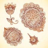 Богато украшенные винтажные элементы вектора в индийском стиле Стоковое фото RF
