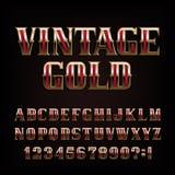 Винтажный шрифт алфавита золота Богато украшенные золотые письма и номер металла иллюстрация вектора