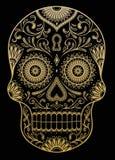 Богато украшенный один череп сахара цвета Стоковые Фото