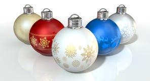 богато украшенный рождества baubles цветастое Стоковое Изображение