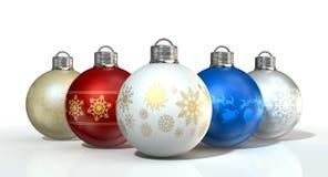богато украшенный рождества baubles цветастое Стоковое Фото