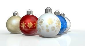 богато украшенный рождества baubles цветастое Стоковая Фотография