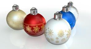 богато украшенный рождества baubles цветастое Стоковые Фотографии RF
