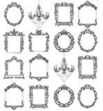 Богатые имперские барочные установленные рамки рококо Французской орнаменты высекаенные роскошью Украшенный стиль вектора виктори Стоковая Фотография