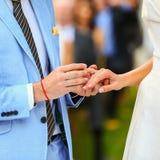 Богатые стильные groom и невеста положили кольцо около свода sunflowe Стоковые Фотографии RF