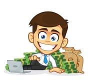 Богатый бизнесмен лежит вокруг наличных денег бесплатная иллюстрация
