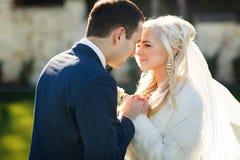 Богачи холят и трава стены предпосылки huggingoutdoor невесты греет a Стоковые Фото